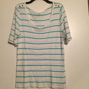 GAP Tops - Gap stretch top white with aqua stripes size XL